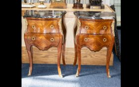 Two Bedside Cabinets with Marble Tops. Two drawers with ormolu decoration.