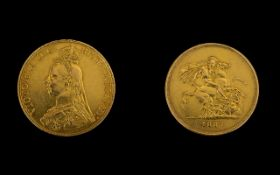 Queen Victoria 22ct Gold Five Pound Coin - date 1887, Jubilee head, London mint. High grade coin.