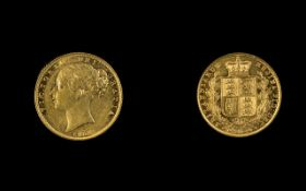 Queen Victoria Young Head Shield Back 22ct Gold Full Sovereign. Date 1852, London Mint.