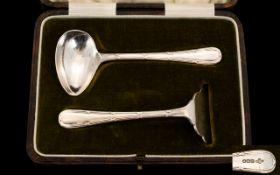 Edwardian Period Sterling Silver Christening Set hallmarked Sheffield 1904. Maker A. E.