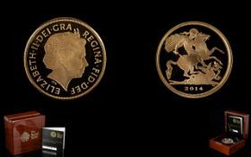 Royal Mint Limited and Numbered Edition 2014-22ct Gold Proof Quarter Sovereign mintage 3000 proof
