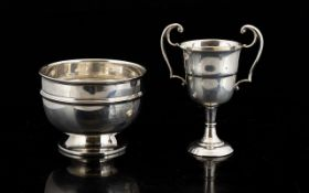Small Silver Hallmarked Trophy With Inscription To Front. 1950's Hallmark Height 3 Inches.