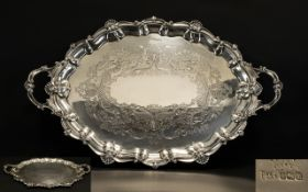 Edwardian Period Large & Impressive Solid Silver Twin-handled Gallery Tray with Cast Shell Borders &