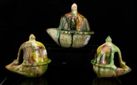 Collection Of Three Antique Chinese Sancai Decorated Vessels,
