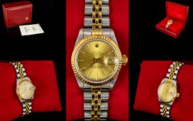 Rolex - Ladies Oyster Perpetual 18ct Gold & Steel Datejust Wrist Watch. Superlative Chronometer.