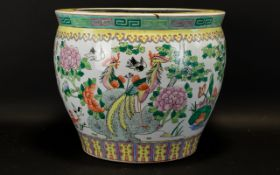 20th Century Chinese Jardiniere Polychrome enamels depicting exotic birds amongst foliage,