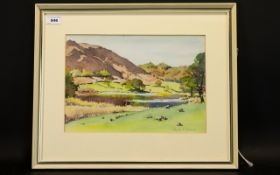 Phyllis Hibbert Framed Watercolour Titled Loughrigg Tarn Label to verso, signed to lower left,