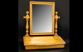 Pine Dressing Table Top Mirror, swivel action with a compartmental drawer.