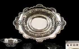 George V Nice Quality Pierced Work Silver Small Sweetmeat Dish. Hallmark Birmingham 1926. 5.