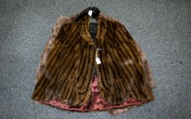 Vintage American Striped Mink Cape Comprising revere collar, square shoulders, hook and eye