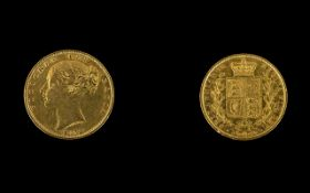 Queen Victoria Young Head Shield Back 22ct Gold Full Sovereign. Date 1853, London Mint.