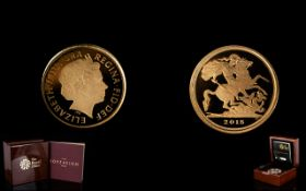 Royal Mint Limited and Numbered Edition 2015-22ct Gold Proof Quarter Sovereign mintage 3000 proof