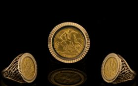 George V 22ct Gold Full Sovereign within a 9ct Ring Shank marked 9.375. Dates of Sovereign 1911.