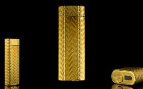 Cartier Paris Gold Plated Lighter Engine Turned Case,