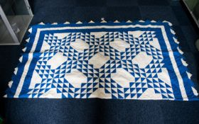 Antique American Patriotic Patchwork Quilt Blue and white cotton quilt with square and triangle