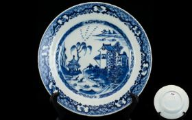 Chinese Export Blue And White Cabinet Plate Depicting traditional buildings with fisherman and
