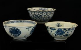 Collection Of Three Antique Chinese Ming Style Footed Bowls,