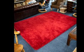 Large Twist Pile Rug - made in Belgium, brick red colourway, approx 10 x 5ft.
