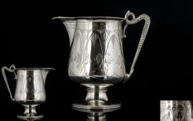 Victorian Period - Nice Quality Sterling Silver Early Cream Jug, Beautifully Engraved,