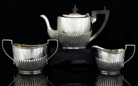 Victorian Period Bachelors 3 Piece Silver Tea Service of Excellent Shape / Form with Fluted Columns