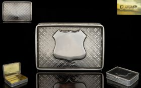 Nathaniel Mills Nice Quality Solid Silver Rectangular Shaped Snuff Box of Pleasing Proportions and