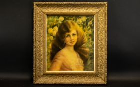 A Late 19th Early 20th Century Oil On Canvas Portrait Depicting a young girl against background of