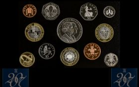 Royal Mint United Kingdom 2007 Standard Proof Struck Coin Set. 12 coins in total.