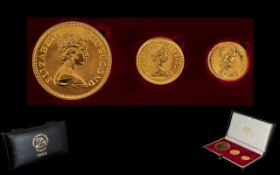 Rhodesia 1966 Gold Three Coin Set Mint - uncirculated set produced by the South African Mint for