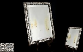 Edwardian Period Sterling Silver Embossed Photo Frame of Rectangular Shape.