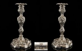 George IV Superb Quality Pair of Silver Candlesticks of impressive form and proportions.