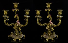 A Pair Of 19th Gilt Bronze French Candleabra Each of three branch from with figural cupids to