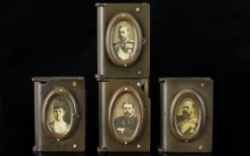 Antique Period Vulcanite Vesta Cases in Book Style with Daguerreotype Images. Collection of four (4)