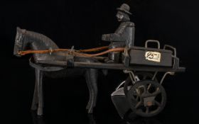 Hand Carved Horse And Cart Height 10cm Length 15cm