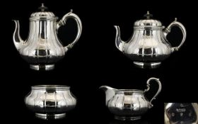 Garrards Of London Victorian Period Superb Quality Solid Silver Four Piece Tea Service Of Excellent