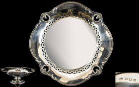 Elkington & Co - Elegant Silver Pedestal Fruit Bowl with Pierced Banded Border,