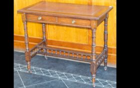 Antique Tooled Leather Top Library Table Of rectangular form,