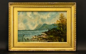 Attributed to Alfred Dawson Oil on canvas A coastal landscape in calm conditions signed with
