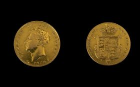 George IV 22ct Gold Full Sovereign - date 1830, London mint. Good grade. Please see photo.