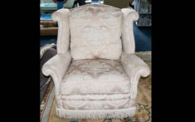 A Very Good Quality Ladies Upholstered Bedroom Chair In a White Material with Feather and Down