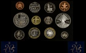 Royal Mint United Kingdom 2005 Proof Struck Coin Collection 12 coins in total.