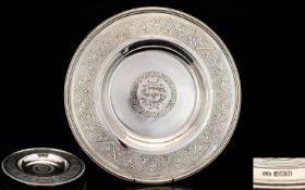 A Magnificent Late 19th Century Solid Silver Alms Dish Makers Mark for Samuel Smith, etched to