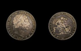 George III Laurel Head Silver Crown - date for 1819 high grade coin. E.F.