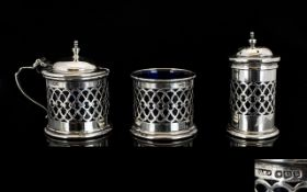 George V Nice Quality 3 Piece Silver Cruet Set with Ornate Trellis Work Design to Sides, All