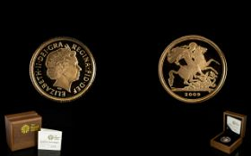 Royal Mint Limited and Numbered Edition 2009 -22ct Gold Proof Quarter Sovereign mintage 10,