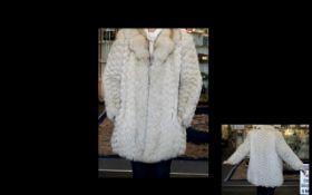 Vintage Arctic Fox Coat Statement mid length coat in chevron finish fox fur,