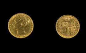 Queen Victoria 22ct Gold Shield Back Young Head Full Sovereign. Date 1872. London Mint.