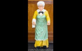 Shop Display Interest Resin Figure In The Form Of An Old Lady Height, 39 inches,