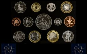 Royal Mint United Kingdom 2006 Proof Struck Coin Collection 13 Coins in total,
