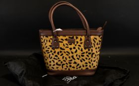 Osprey Limited Edition Tan Handbag - pony skin front panel in a lighter coloured animal print as