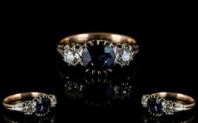 Edwardian Period 18ct Gold - Wonderful quality 3 Stone Diamond and Sapphire Dress Ring.